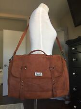 NEW-Tylie Malibu Large Suede Leather Crossbody Messenger Bag Brown