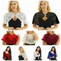 Women Lace Pearl Brooch Bridal Shrug Bolero Crop Top Jacket Cardigan Shawls Wrap