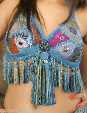 "BELLY DANCE BRA TURQUOISE KUNDAN TRIBAL GYPSY TOP TASSELS "" B "" Cup. India,Boho"