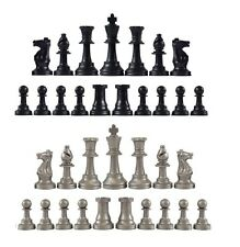 Staunton Single Weight Chess Pieces - Full Set of 34 Black & Silver - 4 Queens