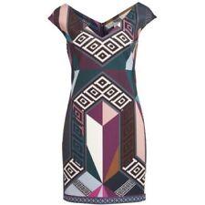 GIANNI VERSACE - Signature Geometric Print Bodycon Stretch Cady Sheath Dress 42