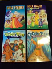 New Lot Of 4 Bible Stories, Coloring & Activity Books  Girl/Boys Sunday School b