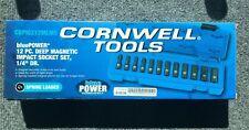 "Cornwell bluePower 1/4"" Dr 12 Pc. Deep Metric Magnetic Impact Sockets"
