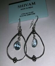 """Shivam Made in India .925 Sterling Silver Blue Topaz Earings New 2"""""""