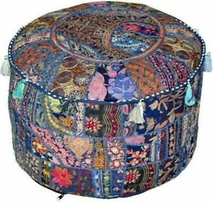Indian Pouffe Floor Fancy Traditional Patchwork Throw Pillow Cover Embroidered