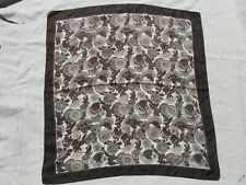 "Vtg. Liberty Of London square silk scarf Brown and Beige floral pattern 27""x 27"""