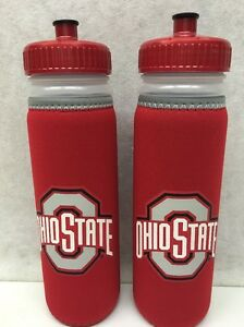 2 Pack NCAA OHIO STATE BUCKEYES 22 Ounce SQUIRT WATER BOTTLE VAN METRO BY KOLDER