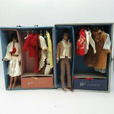 Vtg Barbie Flocked Hair Ken Doll (1960) and Bubblecut Midge (1962) Accessories