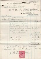 G. H. Richardson Moffat 1914 Joiner Works Three Page Stamp Paid Invoice Rf 41422