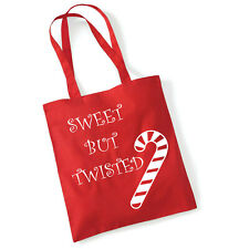 Sweet but Twisted Shoulder Shopping Red Bag For Life Gift, Cotton with vinyl