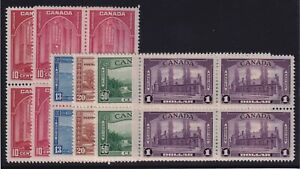 Canada Sc #241-5 (1938) KGVI Pictorial Issue Set in Blocks of 4 Mint VF NH