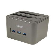 "USB 3.0 2.5"" 3.5"" SATA Hard Drive HDD Docking Station Clone + USB Hub & Charging"