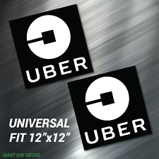 2 X TWO UBER CAR MAGNETS 12 Inch x 12in Large Magnetic Vehicle Signs TAXI Auto