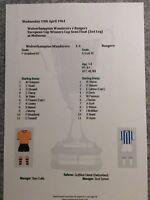1960-61 Cup Winners Cup Semi 2nd Leg Wolverhampton Wands v Rangers Matchsheet