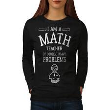 Wellcoda Math Teacher Job Womens Long Sleeve T-shirt, Funny Text Casual Design