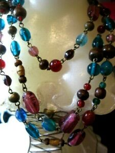 VINTAGE  Murano glass multi color necklace 100cm