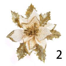 Christmas Flowers Xmas Tree Decorations Glitter Hollow Wedding Party Decor 18cm
