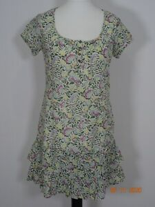 FATFACE Green & Ivory Floral Cotton Shift Dress Size 10