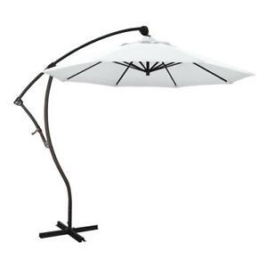 CALIFORNIA UMBRELLA Cantilever Patio Umbrella 9-ft Crank Open 360 Rotation White
