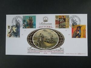 "Great Britain GB - ""SHIPS ~ SETTLERS ~ PILGRIM FATHERS"" Benham SILK FDC 1999"
