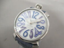 Auth GAGA MILANO Manuale 40 ShellWhite Blue Multi N.J4431 Men's Wrist Watch