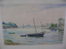 A. Mahuas Aquarell 1943 - Frankreich / France Vannes Bretagne Landschaft Boot