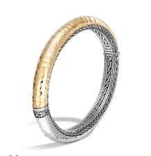 John Hardy Classic Chain Hammered Gold Siver Oval Hinged Bangle M $1795 Bracele