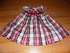 Toddler Size 4T Bonnie Jean Black White Red Metallic Silver Plaid Holiday Dress