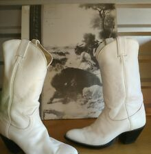 Vintage Tony Lama All White Leather Cowboy Boots, Size 9.5 D FREE SHIP