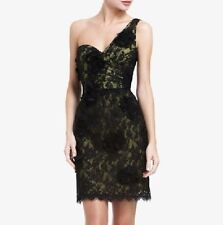 New BCBG Max Azria Black Jennifer One Shoulder Lace Mini Dress Cocktail 4 NWT