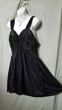 WOMAN WITHIN SHORT SEXY BLACK  LACE NYLON BABYDOLL NIGHTGOWN W/PANTY SIZE 1X