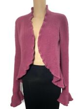 PRINCIPLES Cardigan Sweater Size S UK 8 10 Dusky Pink Ruffle Wool Mohair Blend