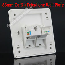 Wall Plate One port  RJ11 Phone TEL + One  port Cat6 Panel Faceplate Cat6 Cat3
