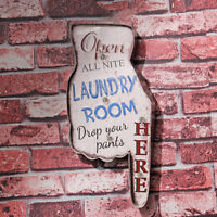 Laundry Room here Vintage LED Light Metal Tin Signs Laundry Shop Wall Decor