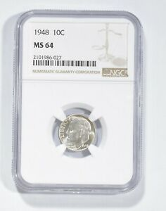 MS64 1948 Roosevelt Dime - Graded NGC *733