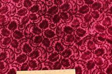 """Christmas Crimson 19thC French Silk Leaf Cut Velvet c1870~1yd 16""""L X 45""""W"""