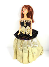 Barbie Doll Clothes Gold Ball Evening Gown Bodice Velvet Top One Peice Dress
