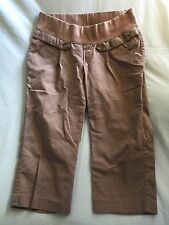 USED OLD NAVY MATERNITY BROWN CROP PANTS STRETCH SZ M MEDIUM LOW RISE CASUAL
