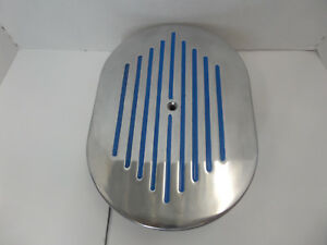 """12"""" x 2"""" Polished Ball Milled Air Cleaner W/ Blue Stripes CHEVY FORD CHRYSLER"""