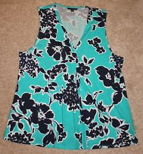 NEW Tommy Hilfiger Womens black and aqua floral print sleeveless top SIZE XL