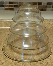 SET OF 4 PYREX CLEAR GLASS RIMMED MIXING NESTING BOWLS 322, 323 & 325 & 326 USA