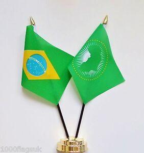 Brazil & African Union Double Friendship Table Flag Set