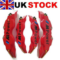 NEW RED Brake Caliper Covers Kit Black M Power Logo Front Rear 4x M+S fits BMW