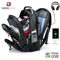"SwissGear Multifunctional 17"" laptop backpack USB Charged Travel bag Schoolbag"