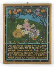 Antique Painting Picnic Flowers Trees w/ Child's Verse by Gabriel Setovn ~1900