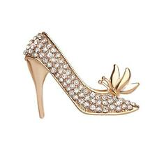 Women Ladies Crystal Rhinestone Golden High Heeled Classic Shoes Brooch Pin
