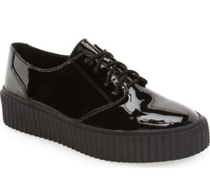 SHELLYS LONDON Women's 'Peter' Black Patent Leather Creeper Shoes Size 6.5