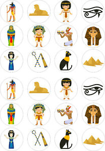 24 edible Ancient Egypt Egyptians Iced Icing Fondant 4cm Cupcake Toppers Cake