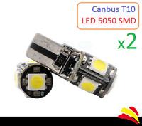 x2 Bombillas CANBUS LED T10 W5W 5050 SMD Luz Blanca 6000K No error Coche