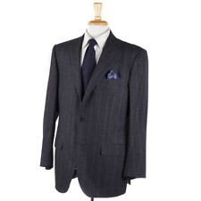 NWT $4495 SARTORIO NAPOLI by KITON Gray Chalk Stripe Flannel Wool Suit 44 R